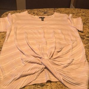 Tan and white short sleeve top